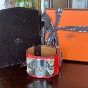 NEW Hermès Red Bougainvillea Collier de Chien CDC
